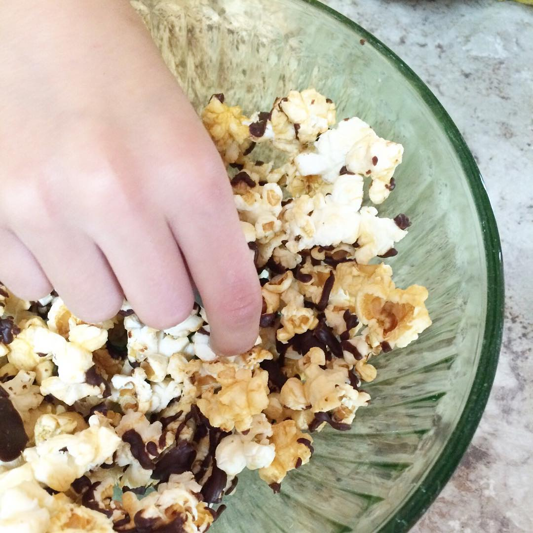 I don't always make after school snacks, but when I do, it's chocolate covered caramel popcorn. #recipecomingsoon