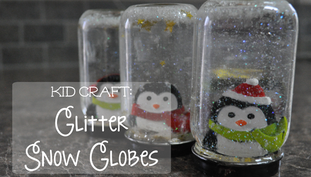 kid craft glitter snow globes