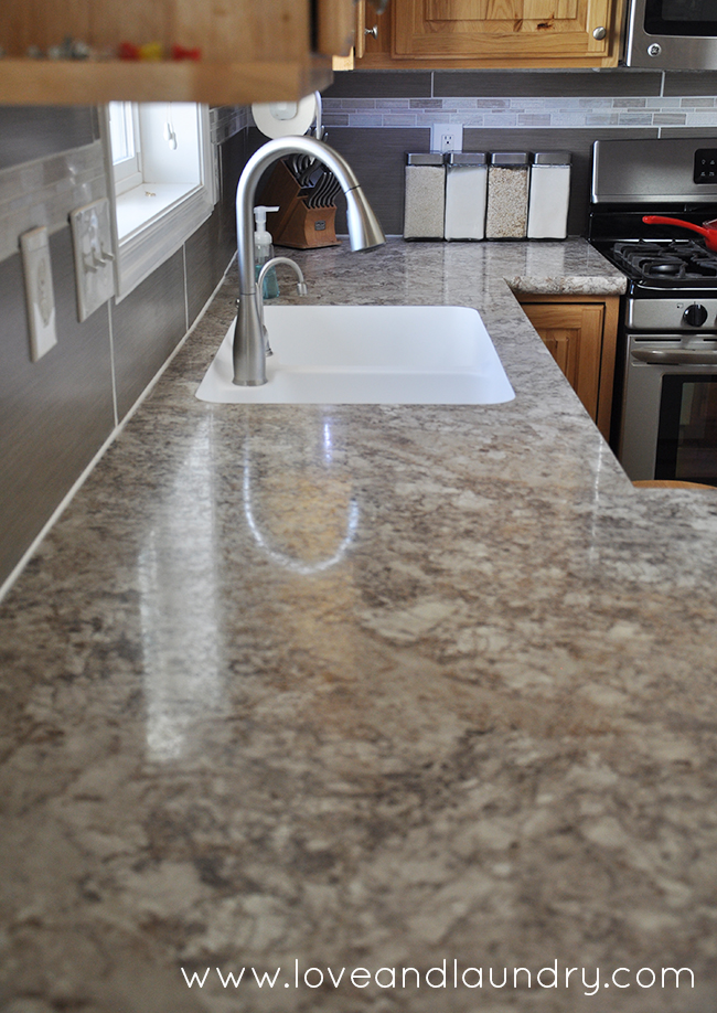 Why we love our custom laminate countertops. We were even able to get a seamless under mount sink!