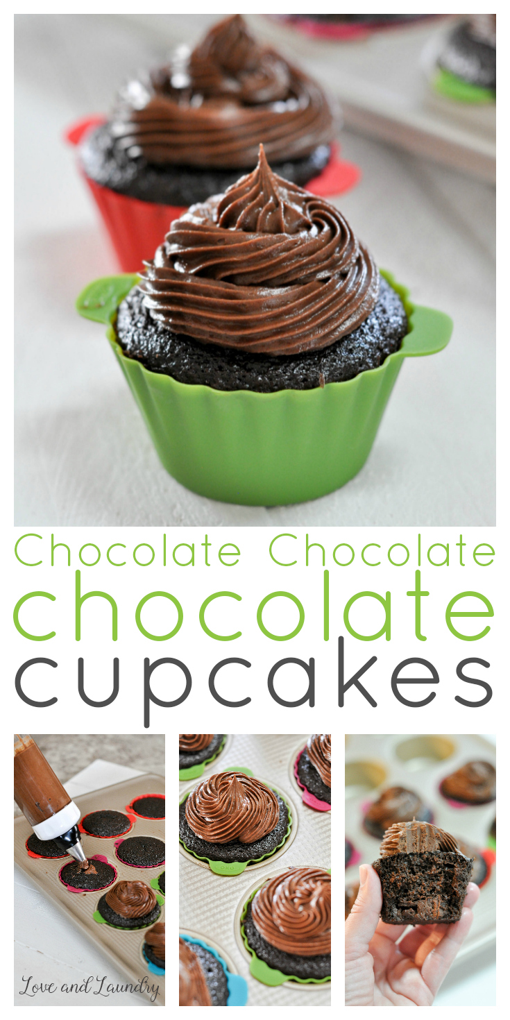 If you are a chocolate lover like me, you'll love these chocolate cupcakes! I bake them for all my kids birthdays. This recipe is for chocolate cake, filled with creamy chocolate ganache, and has a fudgy chocolate frosting and is really easy to bake from scratch!